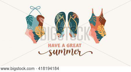 Bohemian Summer, Modern Summer Illustrations And Design Of Rainbow, Flamingo, Pineapple, Ice Cream A