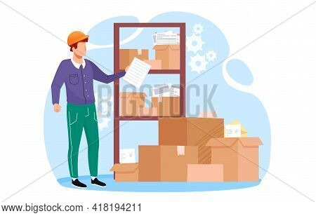 Metaphor Vector Illustration Concept. Inventory Management With Goods Demand And Stock Supply Planni