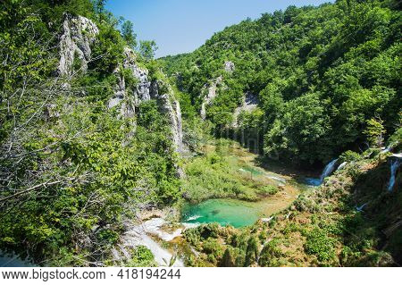 A Valley In The Plitvice Lakes National Park.