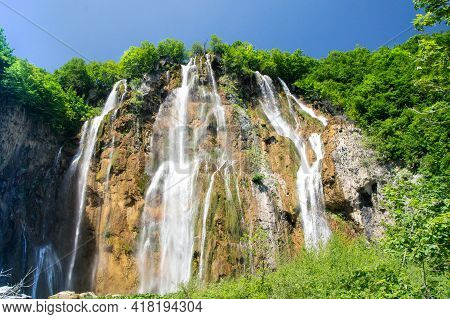 A High Waterfall In The Plitvice Lakes National Park.