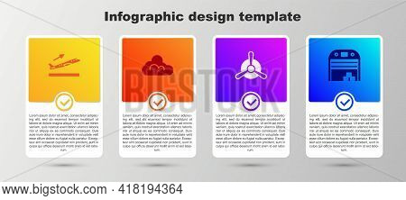 Set Plane Takeoff, Cloud Weather, Propeller And Aircraft Hangar. Business Infographic Template. Vect