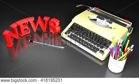 Typewriter With Write News And Pencils - 3d Rendering Illustration
