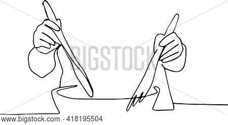 Man's Hands With A Large Salad Bowl And Cutlery Get In The Way Of The Salad. Healthy Eating. Healthy