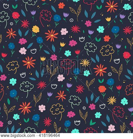 Multi Color Floral Background With Bright Flowers And Leaves On A Dark Blue Background. Colorful Flo