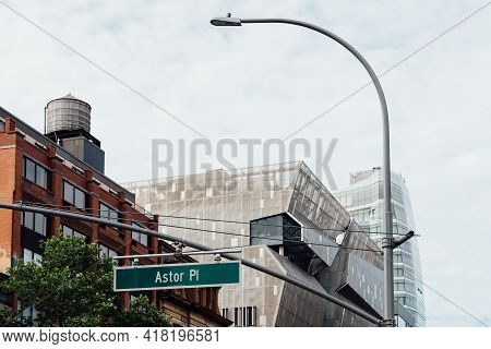 New York City, Usa - June 20, 2018: Cityscape Of Manhattan At Astor Place With Cooper Square Buildin