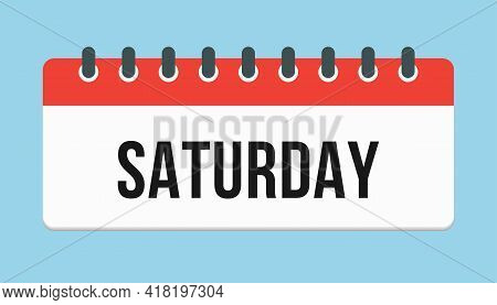 Vector Icon Page Calendar, Day Of The Week Saturday