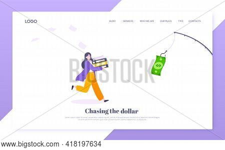 Money Chase Business Concept With Businesswoman Running After Dangling Dollar And Trying To Catch It