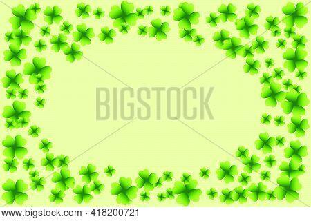 Saint Patrick's Day Light Vector Frame With Small Green Four-leaf Clover Shamrock Leaves. Irish Fest