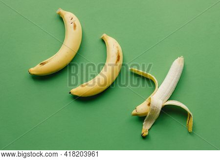 Peeled Banana On Green Background Tasty And Delicious Banana Fresh And Healthy Food New Picture Frui