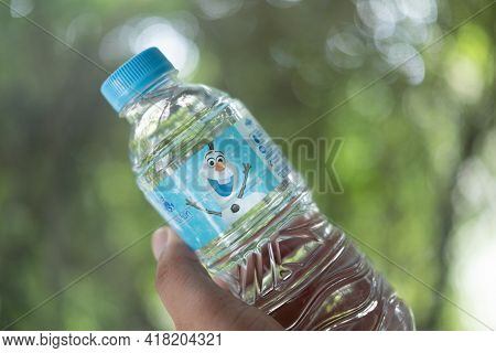 Bangkok, Thailand - April 25, 2021 : Plastic Bottle Drink Water Of Singha Water Is New Collection Fr