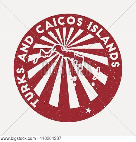 Turks And Caicos Islands Stamp. Travel Red Rubber Stamp With The Map Of Island, Vector Illustration.