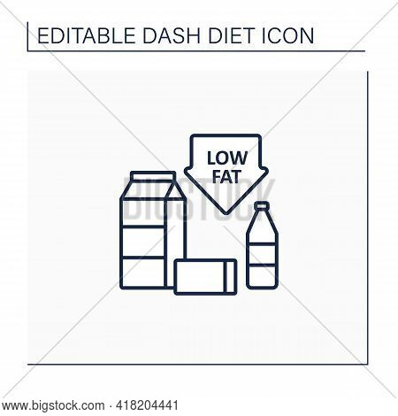Low Fat Line Icon. Skim Or Fat-free Milk. Low-fat Varieties Of Yogurt, Cottage Cheese. Protein Sourc