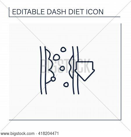 Reducing Cholesterol Line Icon. Low Cholesterol Level. Proper Nutrition. Dash Diet Concept. Isolated