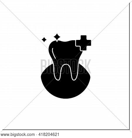 Oral Health Glyph Icon. Healthy Tooth With Perfect Smile. Good Care Concept. Aesthetic Overall Healt