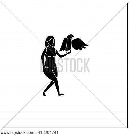 Pets Benefits Glyph Icon.woman Have Parrot. Communication. Reduce Stress Level. Companionship. Anima
