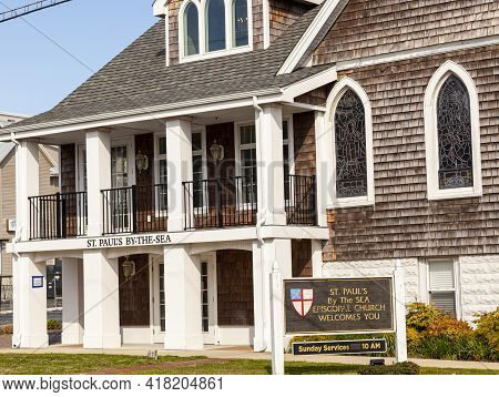 Closeup Image Of The Historic St. Paul's By The Sea Episcopal Church. The Wood Shingled Gothic Reviv