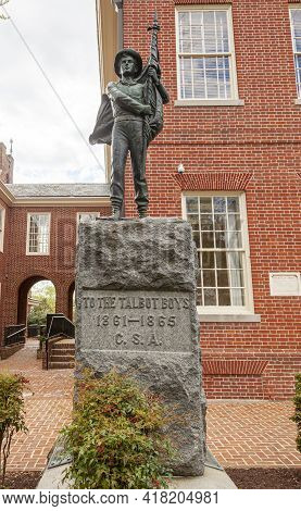 04-16-2021 Easton, Md, Usa: One Of The Last Confederate Monuments In The Usa That Is Dedicated To Th