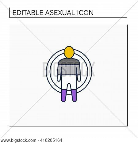 Asexual Line Icon. Symbol Or Emblem Asexual People, Man And Woman. Nonsexuality Flag. Absent Interes