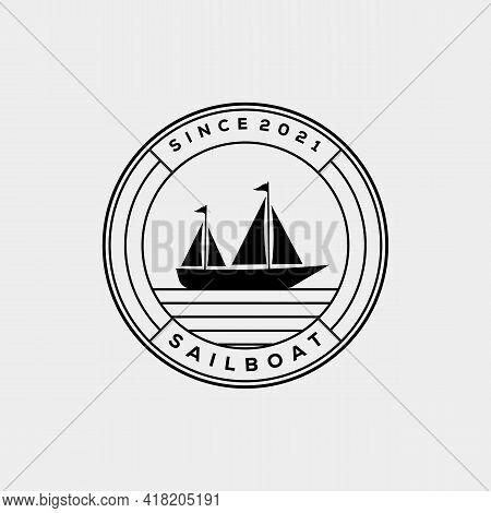 Silhouette Sailboat Badge Logo Template Vector Illustration Design. Sail Boat Icon