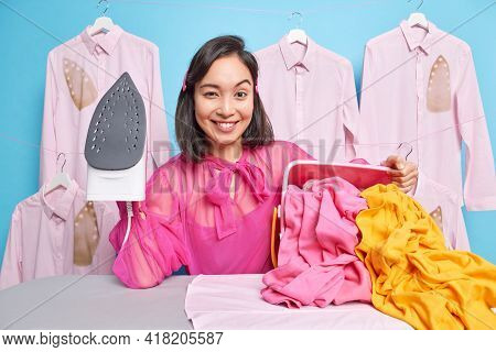 Daily Life And Domestic Chores Concept. Smiling Self Confident Housewife Holds Steam Electric Iron F