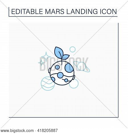 Life On Mars Line Icon. Finding Life On Planets. Favorable Living Conditions.mars Landing Concept. I