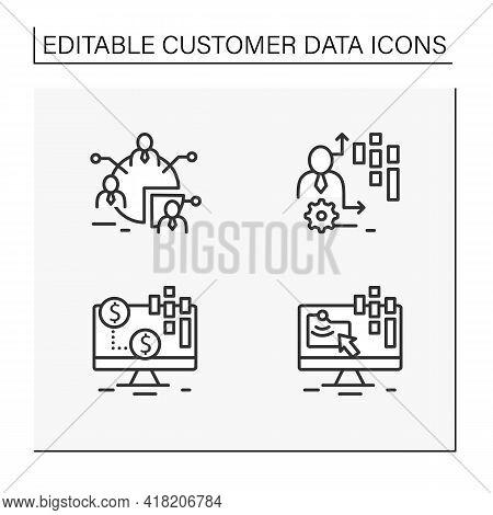 Customer Data Platform Line Icons Set. Audience Segments, Transactional Data, Behavioral Date. Custo