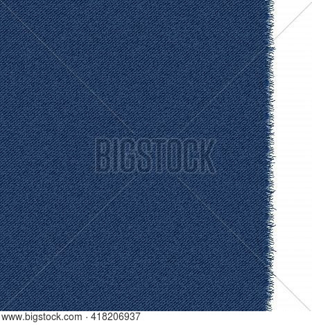 Blue Classic Jeans Denim Texture With A Ragged Edge. Dark Jeans Texture. Realistic Vector Illustrati