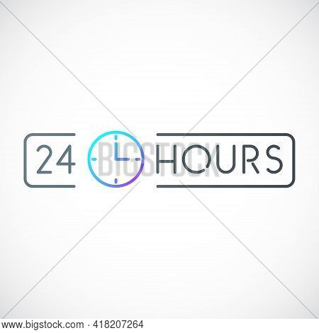 Open 24/7 Vector Icon. Open 24 Hours Sign In A Frame. Minimalist Signboard For Cafe, Grocery, Stores