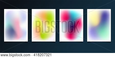 Set Of Modern Template Abstract Blurred Gradient Smooth Color Background. You Can Use For Brochure,