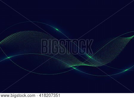 Abstract Green Wavy Lines With Dots Particles And Lighting On Dark Blue Background. Vector Illustrat