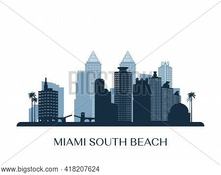Miami South Beach Skyline, Monochrome Silhouette. Vector Illustration.