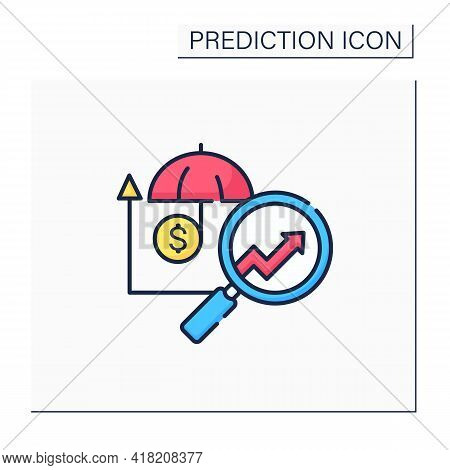 Insurance Predictive Analytics Color Icon.collating Metrics, Real-time Data About Customers. Busines