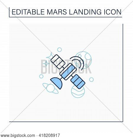 Satellite Line Icon.artificial Satellite Placed In Earth Orbit. Observation From Space. Mars Landing