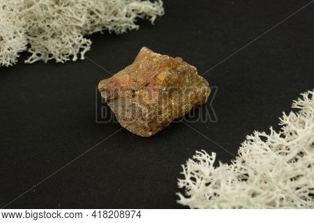 Andalusite From Brazil Or China. Natural Mineral Stone On A Black Background Surrounded By Moss. Min