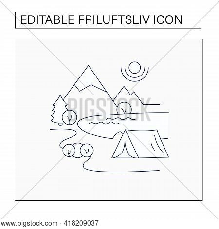 Camping Line Icon.tent On River Landscape Background. Nice Weather. Adventure Tourism. Green, Eco To