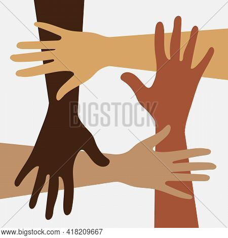 Hands. International Day For The Elimination Of Racial Discrimination. Equal Opportunity And Rights