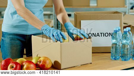 Close Up Of Caucasian Volunteer Hands In Protective Gloves Packing Food Products In Donation Box Wor