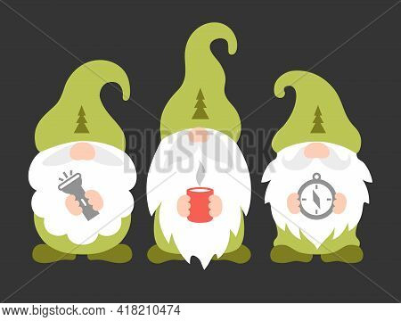 Cute Camping Gnomes. Travel Vector Illustration. Scouts Or Rangers Design.