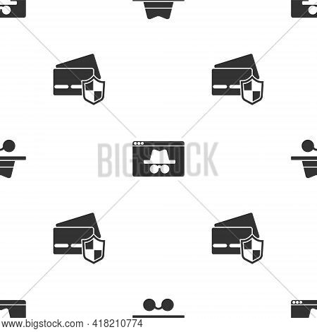 Set Incognito Mode, Browser Incognito Window And Credit Card With Shield On Seamless Pattern. Vector