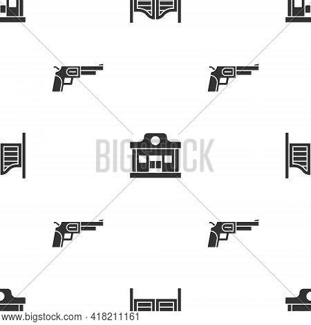 Set Saloon Door, Wild West Saloon And Revolver Gun On Seamless Pattern. Vector