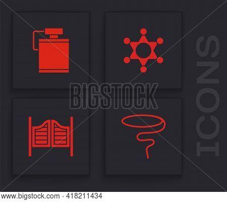 Set Lasso, Canteen Water Bottle, Hexagram Sheriff And Saloon Door Icon. Vector