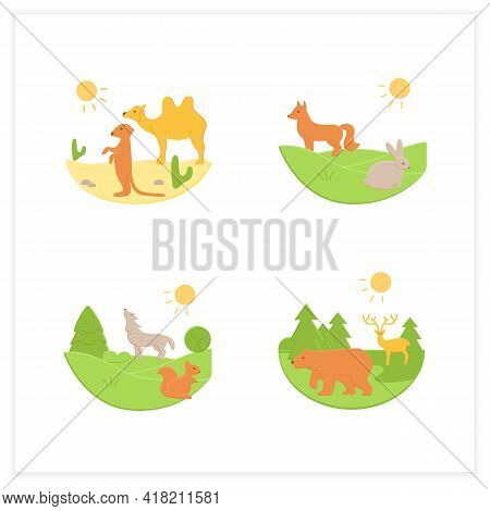 Biodiversity Flat Icons Set. Consists Of Desert, Grassland, Temperate Forest, Taiga Forest Ecosystem