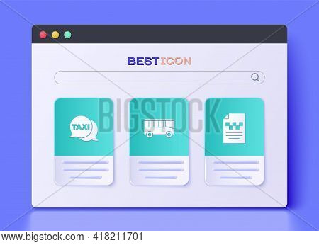 Set Bus, Taxi Call Telephone Service And Driver License Icon. Vector