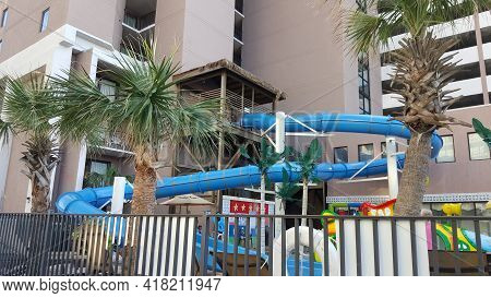 Myrtle Beach, Sc, September 4, 2016, Giant Water Slide And Water Park At The Grande Cayman Resort Ho