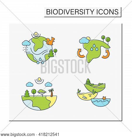 Biodiversity Color Icons Set.reduce Air Pollution. Fighting Global Warming. Saving Flora And Fauna.s