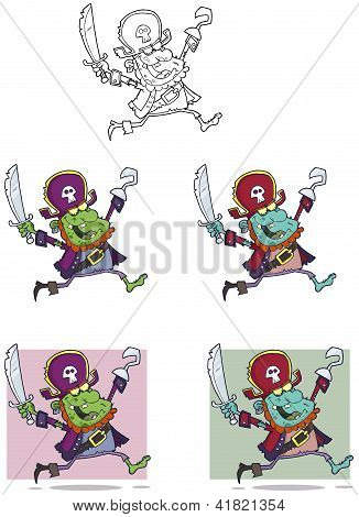 Pirate Zombie Cartoon Mascot Characters Collection