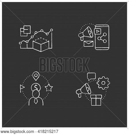 Customer Data Platform Chalk Icons Set. Predictive Modeling, Content Marketing, Client Attributes, M
