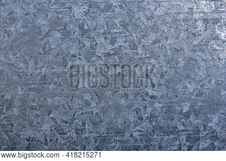 Close-up Of The Surface Of The Galvanized Sheet Of Tin