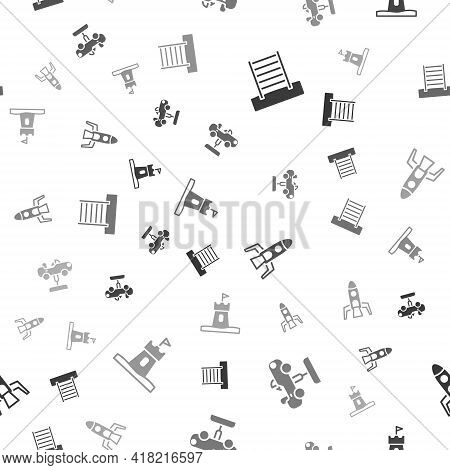 Set Swedish Wall, Swing Car, Rocket Ship And Sand Tower On Seamless Pattern. Vector
