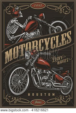 Motorcycle Colorful Poster In Vintage Style With Custom Motorbike And Skeleton Moto Rider In Helmet